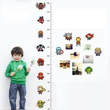 Мстители таблица измерения высоты настенные наклейки для детских