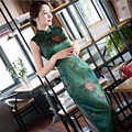 Chinese Women's Satin Sleeveless Cheongsam Long Evening Qipao Chinese Oriental Silk Cheongsams Traditional Velvet Chinese Dress