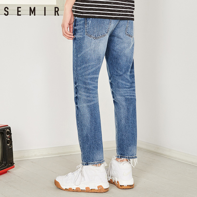 SEMIR Men's jeans new summer 2018 hole straight nine minutes pants male cotton trousers fashion men's trousers