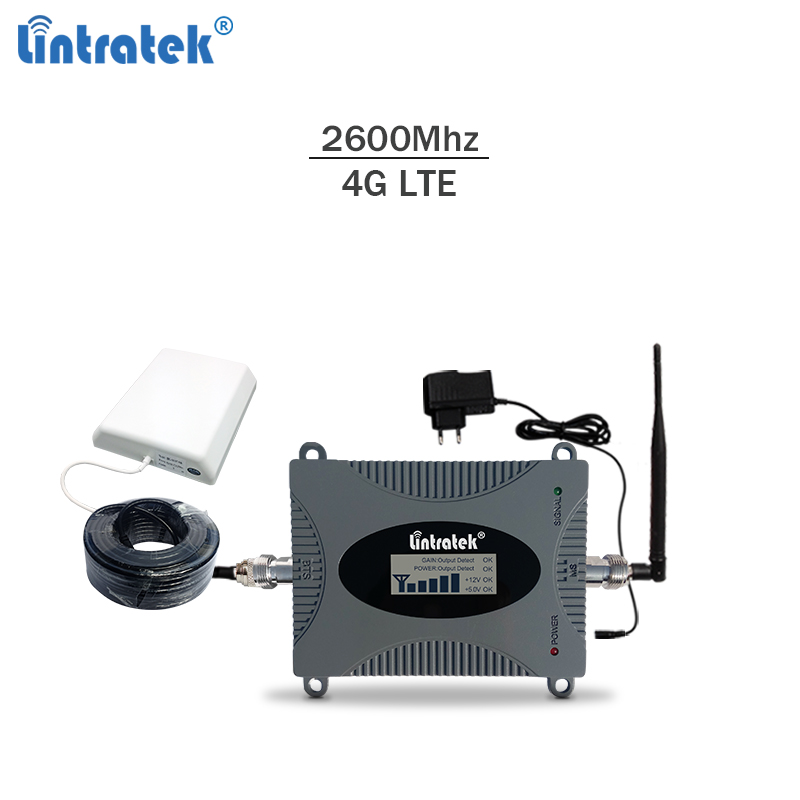 Lintratek 4g Booster 2600Mhz LTE Celullar Signal Repeater 2600 Cellphone Signal Amplifier 65 DBi With LCD Display Full Kit #5.4