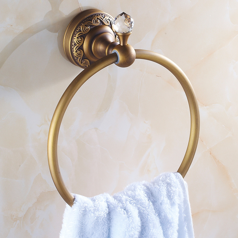 Antique Brass Towel Ring Bathroom Pendant Bronze Crystal Rack Wall Mounted Copper Carved Towel Hanger Rack different colors wall mounted clothes hook bathroom towel hanger crystal