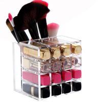 16 Batom Titular Display Stand Acrílico Organizador Cosmetic Makeup Brush Pen Caso Organizador de Maquiagem Caixa De Armazenamento De Diversos