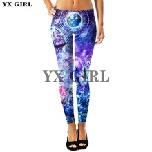 YX Girl Drop Shipping Female Sex Leopard Pants Trousers Women Gothic Leggings 3d Print Buddha Workout Fitness Goth Long