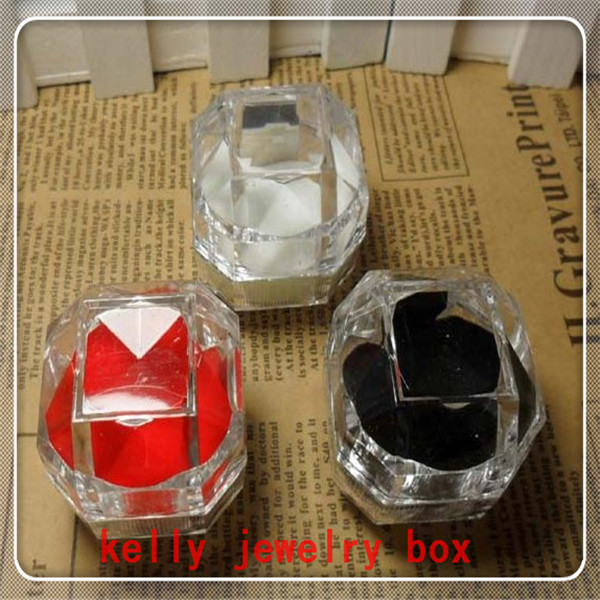 Wholesale 60pcs/lot 3.8*3.8cm Jewelery Box Mixed Color Clear Acrylic Ring Box Favor Jewelry Earrings Display Packaging Gift Box