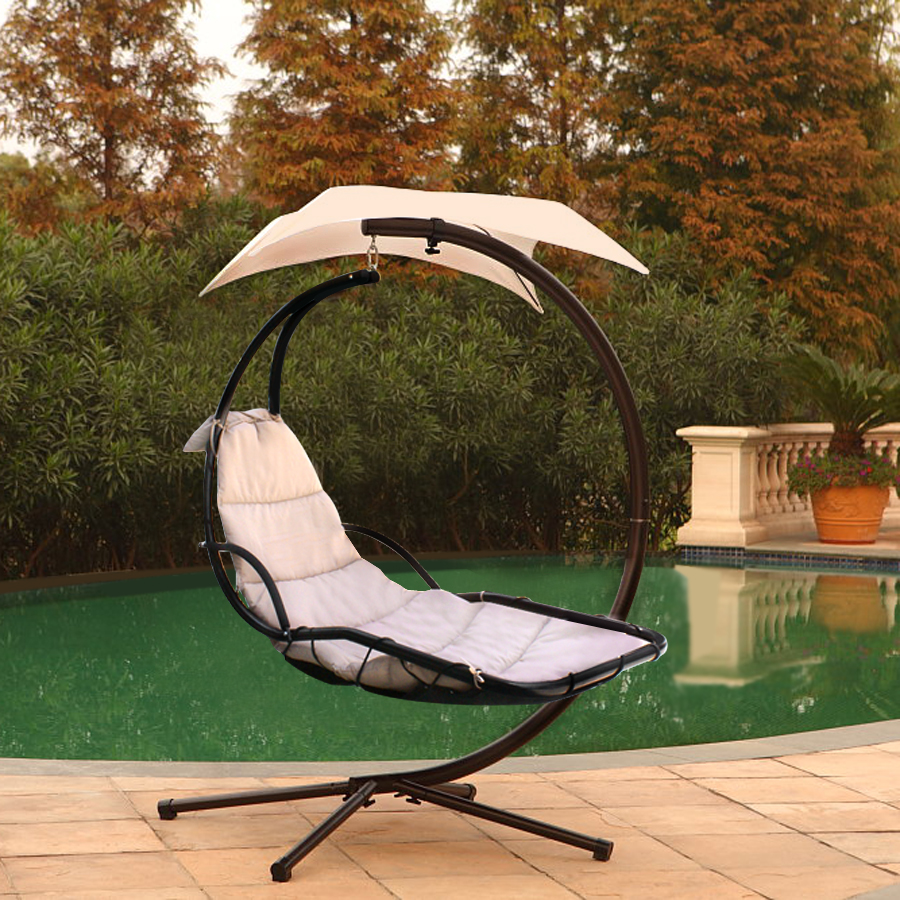 hammock chair with canopy leather swivel recliner chaise lounger hanging arc stand air porch swing teal