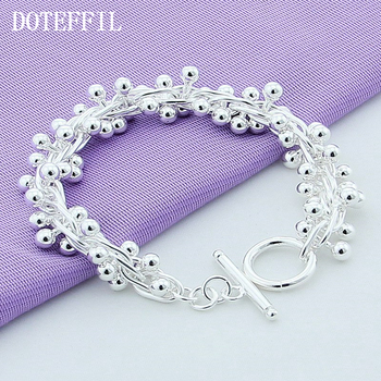 DOTEFFIL 925 Sterling Silver Smooth Grape Bead Bracelet For Women Fashion Charm Wedding Engagement Party Jewelry doteffil 925 sterling silver butterfly aaa zircon bracelet for women fashion wedding engagement party charm jewelry