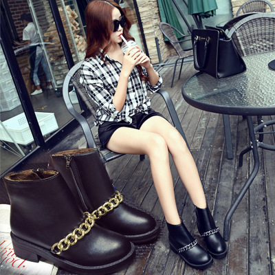 WENDYWU 2017 new girls boots princess Europe and the United States autumn and winter new boots tide Martin metal chain side with