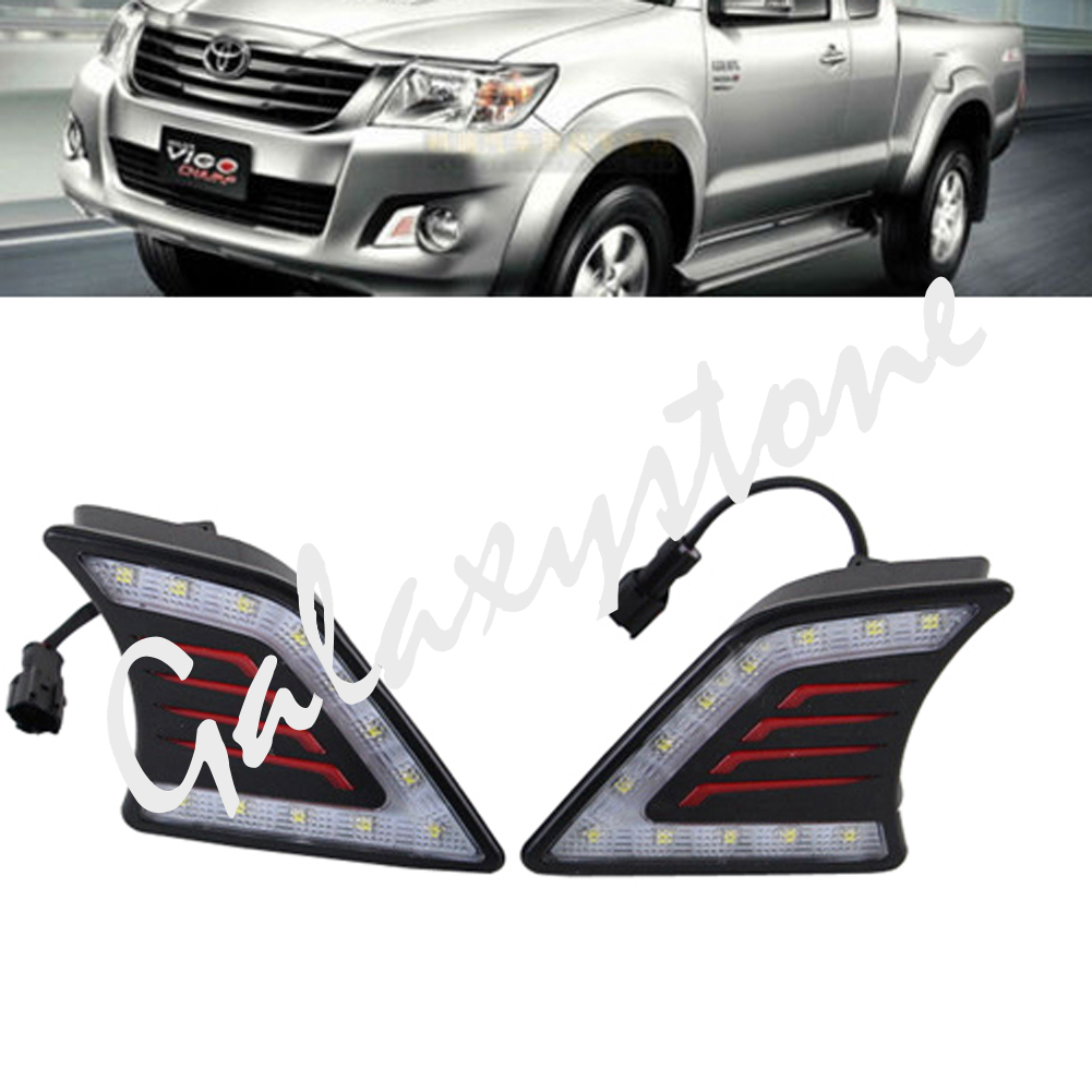 2x White LED Daytime Running Light DRL Fog Lamps For Toyota Hilux Vigo 2012 2013 2014 led drl daytime running light fog lamp cover for toyota hilux vigo champ 2012 2013 wholesale d10