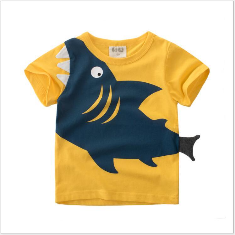 1-8 Jahre Kinder Baby Jungen Tops T-shirt Sommer Baby Baumwolle Tees Kleidung Kleinkind Junge Gelb Shark T-shirts Kinder Casual Kleidung