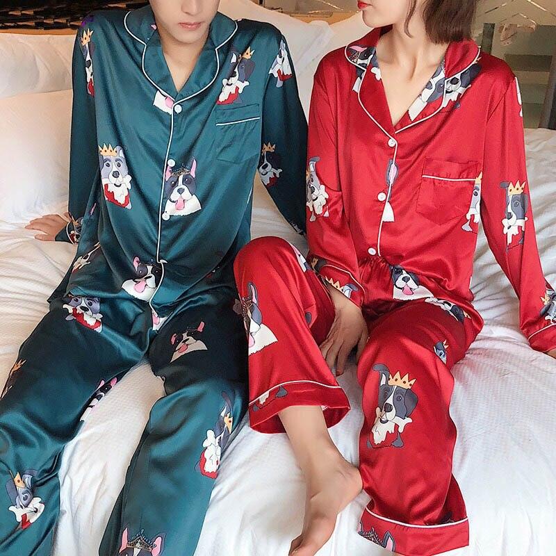 New Arrivals 2018 Lovers Pyjamas Women Silk Satin   Pajama     Sets   Cartoon Dog Couple   Pajamas   For Women Sleepwear   Sets   Pijama Mujer