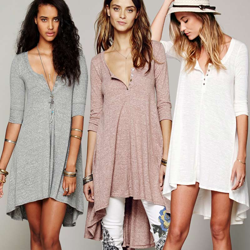 T Shirt Dress Women Long Cotton Loose Sleeve V Neck Boho Style Hippie Chic Summer Autumn 2017 Robes Clothing In Dresses From Womens