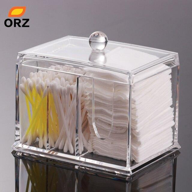 ORZ Acrylic Storage Box Cotton Pad Swabs Q Tip Lipstick Jewelry Organizer  Case Cosmetic Makeup