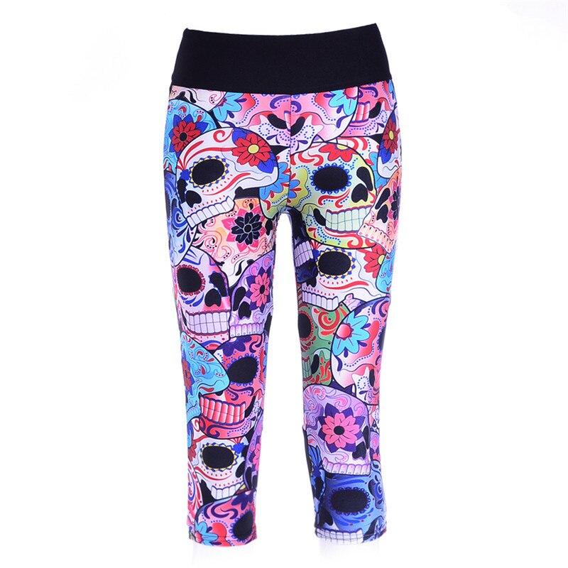 Prix pour Femmes Fitness Veau-longueur Pantalon Femelle Sports d'été Pantalon De Yoga de Course Sept Capris Crâne fleur Leggings LN7Slgs