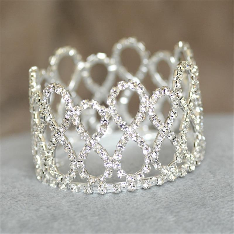 8 Shapes Round Tiaras Hair Jewelry Newborn Baby Crown Tiara Silver Color Rhinestone Crystal Crown Boys Girls Christmas Gift NEW