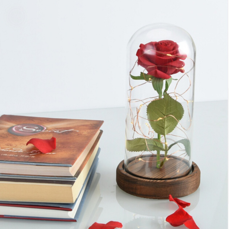 Rose Lamp Beauty And The Beast Rose Red Led Valentine\'s Gifts Mother\'s Day Gift With Glass Dome Safety Packaging rose petals heart love patterned valentine s day waterproof table cloth