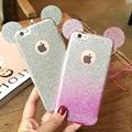 Orelhas de Rato 3D Glitter Gradiente Doce Cor Caixa Do Telefone Macio TPU Silicone para iphone 5 5s se 6 6 s 6 mais casos cubra com pendurar corda