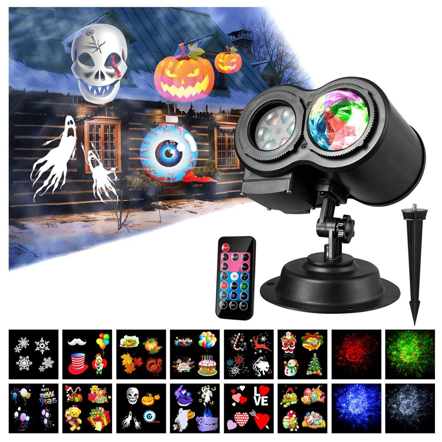 Water Wave Lights LED Light Projector Remote Control Colorful Flowing Water Ripple Effects for Halloween Christmas Parties