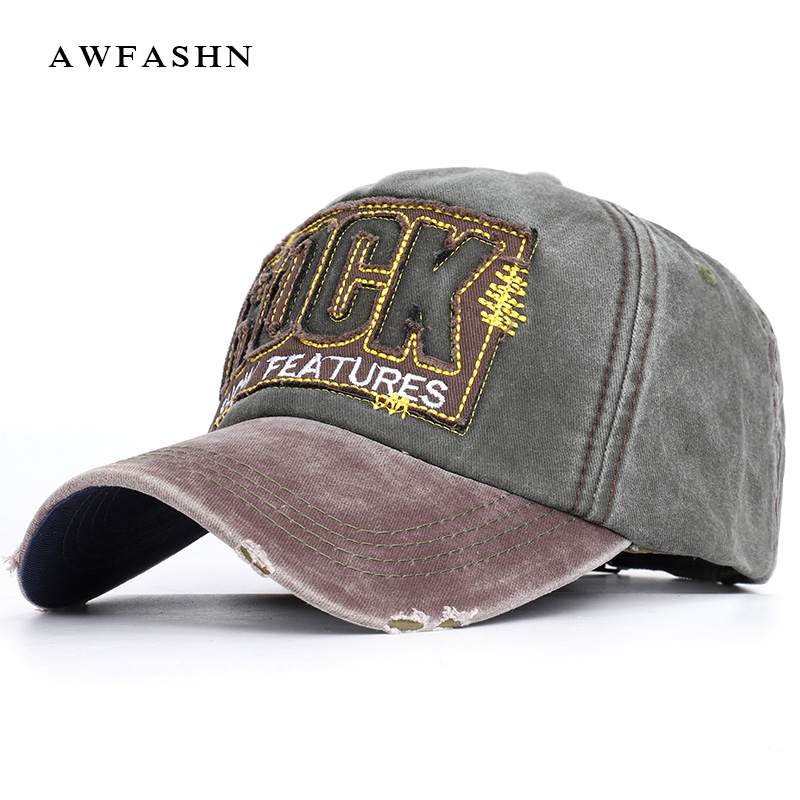 2019 New Vintage   Baseball     Cap   Fashion Casual Hip Hop Hat Spring Man Woman High Quality Washed Cotton Letter ROCK Dad Hat Bone