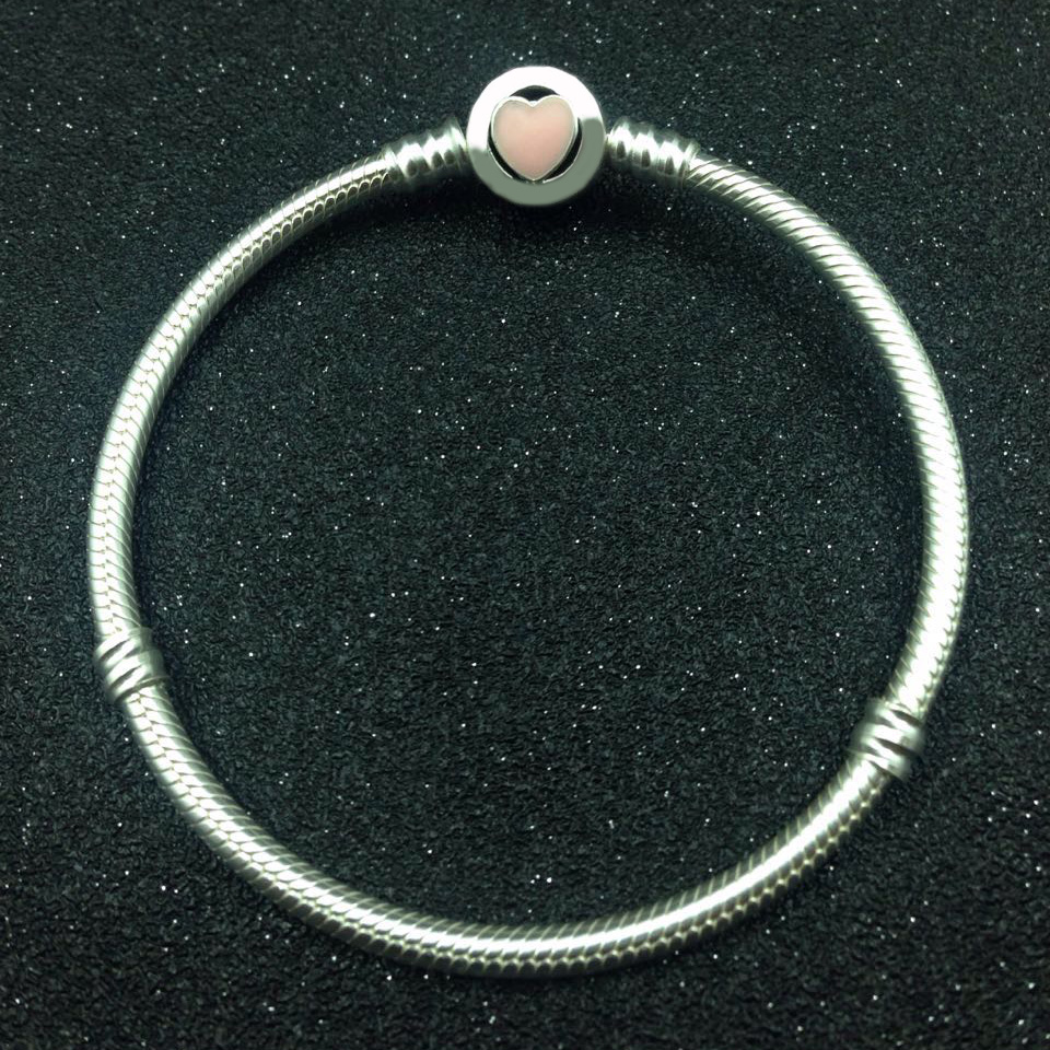 New 925 Sterling Silver Anklets Pink Wonderful Love Heart Clasp Snake Bracelet Bangle Fit Women Bead Charm DIY Pandora Jewelery