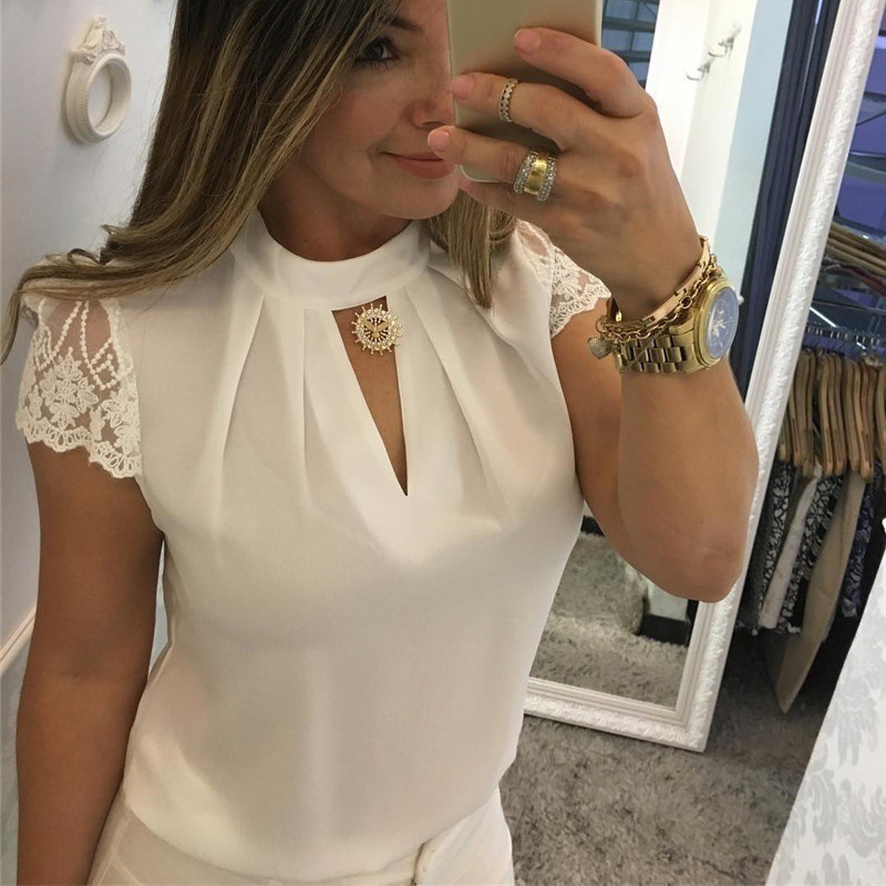 New Women Sexy Blouse Stand Collar Lace Splice Hollow Out Zipper Casual Summer Basic Tops Elegant Korean Blusas Mujer Plus Size