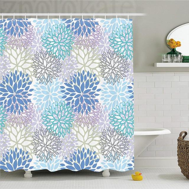 Dahlia Flower Decor Shower Curtain Scribble Pattern Of Mix Victorian Multi Layered Grace Daisy