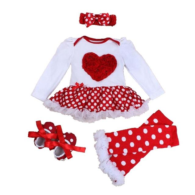 Amor Applique Novo 2016 Manga Comprida Vestido Romper 4 PCS Sets Tutu-nascidos Valentine Criança Outfits Roupa Dos Miúdos Vestuário Infantil