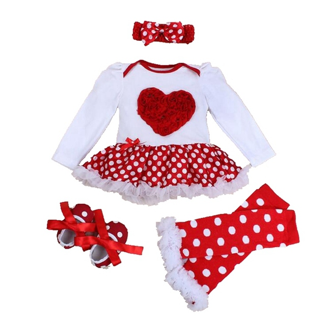 Love Applique New 2016 Long Sleeve Romper Dress 4PCS Newborn Tutu Sets Valentine Toddler Outfits Kids Clothes Infant Clothing