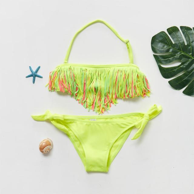 2019 Girl Swimsuit Two Pieces Children's Swimwear Tassel Children Split Hollow Falbala Bikini Sets Bathing Suit G1-CZ912