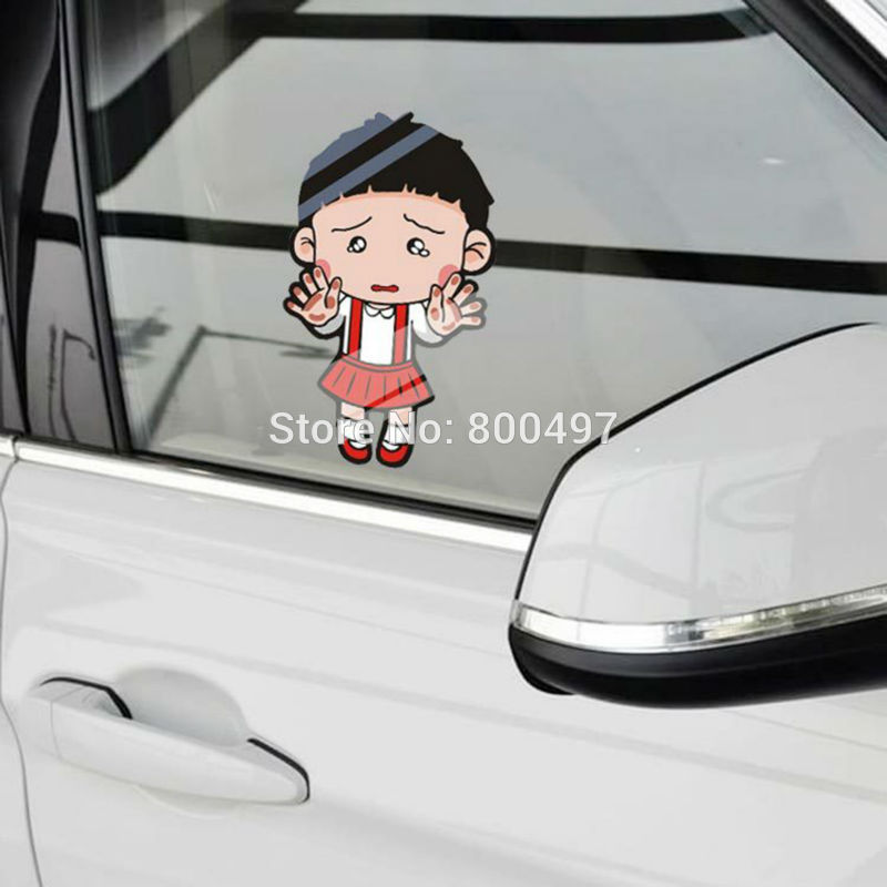 10 x Newest Car Styling Cartoon Chi-bi Maruko Hitting the Glass Car Stickers Decals for Toyota Chevrolet Volkswagen Tesla Lada