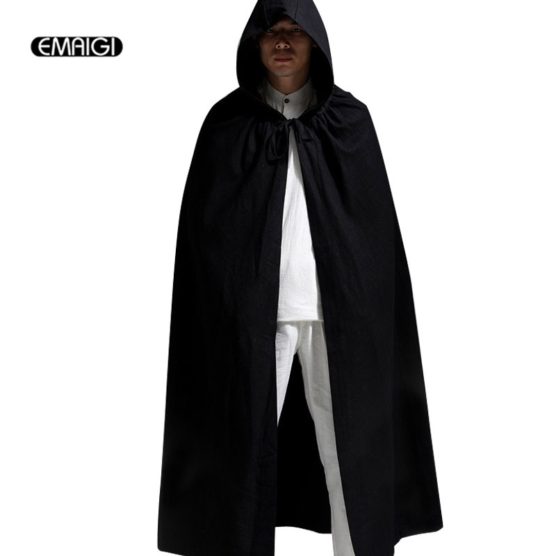 Men Women Linen Hooded Cardigan Trench Coat Male Casual Long Cloak Trench Jacket Mens Windbreaker Halloween Clothing