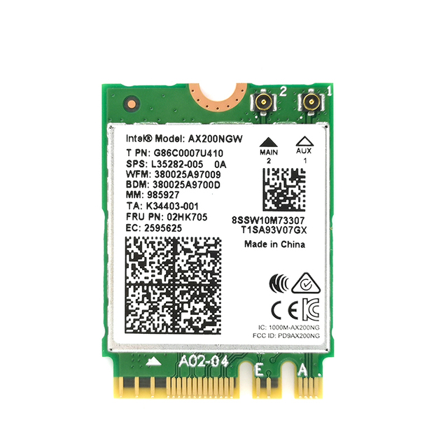 Wtxup 2400Mbps Wireless Ax200Ngw Ngff Network Wifi Card For Intel Ax200 2.4G/5Ghz 802.11Ac/Ax Wi-Fi Bluetooth 5.0 1