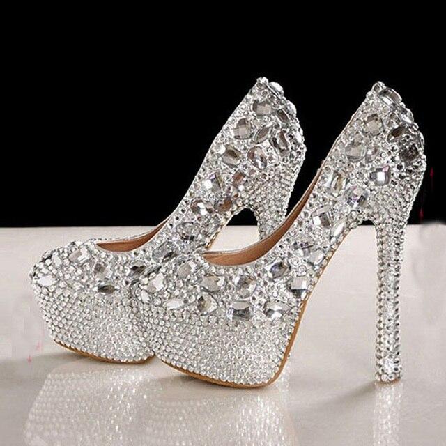 Великолепный Мода Серебряные Высокие Каблуки Кристалл Свадебная Обувь Леди Блеск Свадебные Туфли Выпускной Вечер Насосы