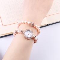 Women's Bracelet Watch compact and delicate fashion style gold pearl waterproof gifts for girls set quartz watch