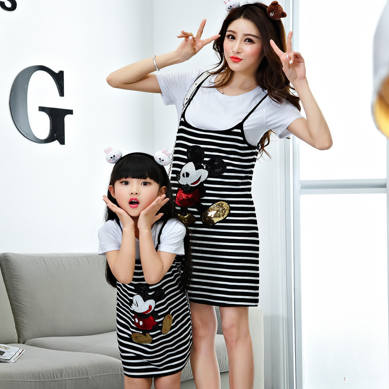 2017 family look matching mother daughter clothes outfits family clothing set t-shirt+ mickey dress mommy and me clothes cheecivan family matching outfits summer fashion colorful letter print short sleeve t shirt for toddler mother one piece dress