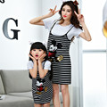 2017 family look matching mother daughter clothes outfits family clothing set t-shirt+ mickey dress mommy and me clothes