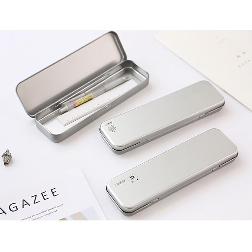 Silver Tin Pencil Case Box With Small Cartoon Pattern Hinged Rectangular Tin Box Containers For Crafts, Gifts, Candles 21x6cm