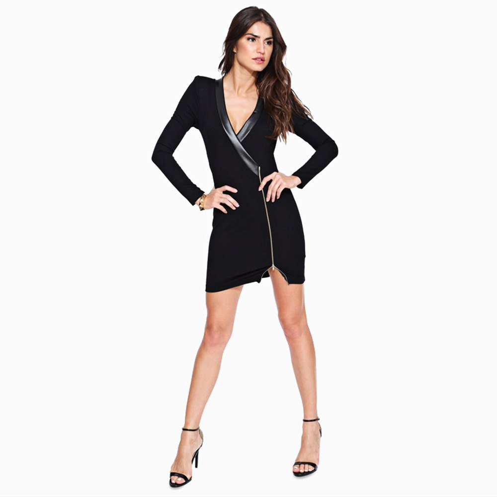 Black dress long sleeve - Women Autumn Sexy V Neck Long Sleeve Black Dresses Bodycon Slim Patchwork Dress Ol Work Party