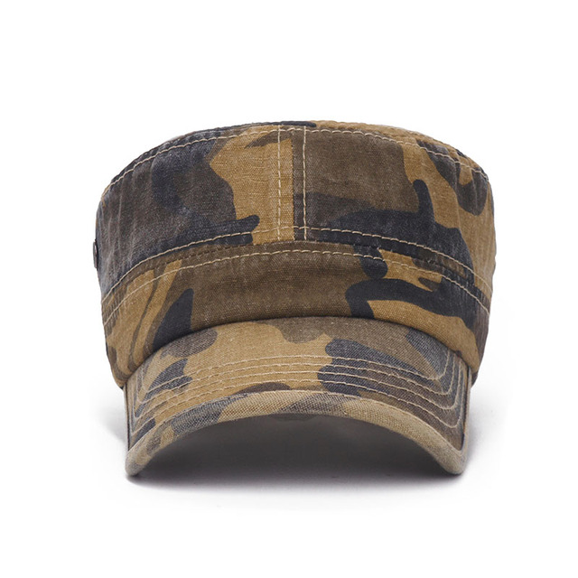 Washed cotton Army camo Flat Mens Caps Adjustable Outdoor mountaineering Baseball caps Women's casual Military Hats tactical cap