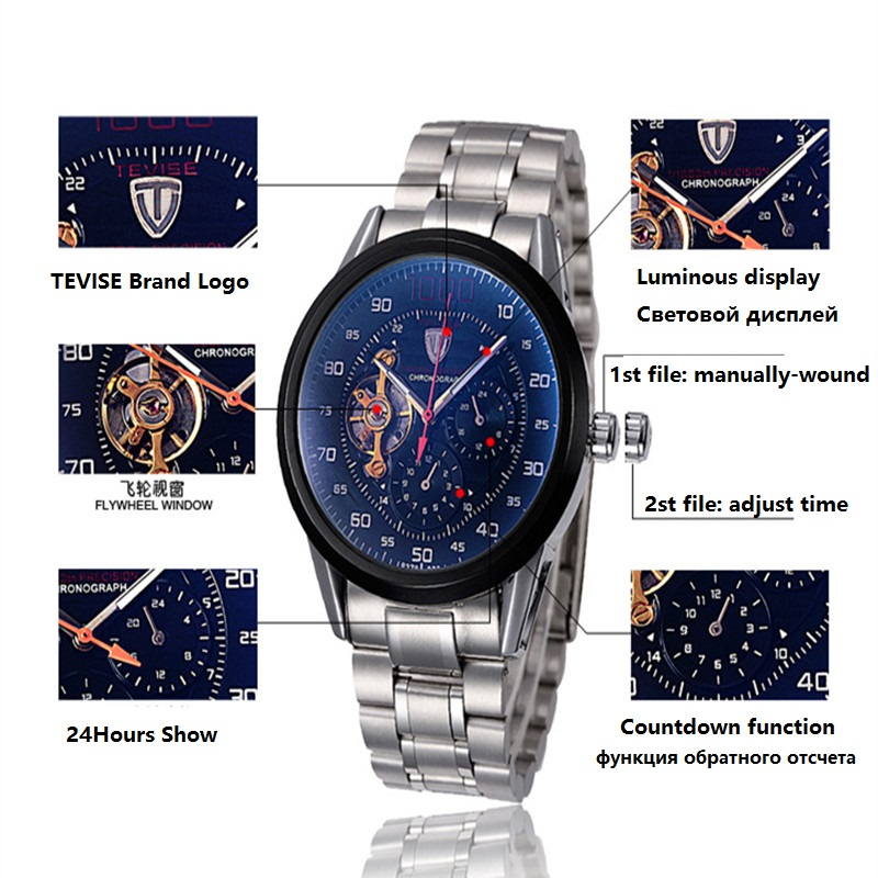 fce7d427b TEVISE Men Watch Automatic Mechanical Watches Big Dial Chronograph Clock  Mens Wristwatches Military Watches Relogio Masculino-in Mechanical Watches  from ...