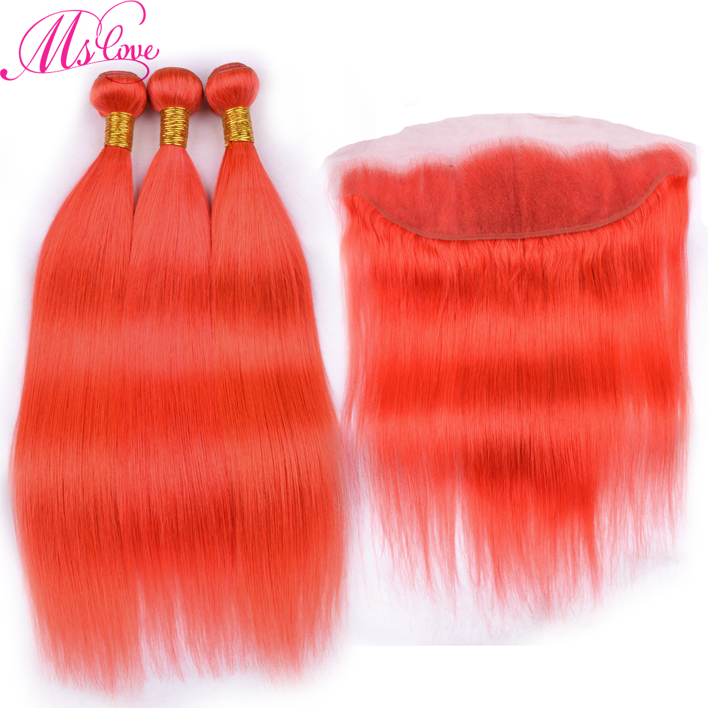 Ms Love Red Bundles With Frontal Brazilian Hair Straight 100% Remy Human Hair Bundles With Frontal 13*4 Lace Size Free Shipping