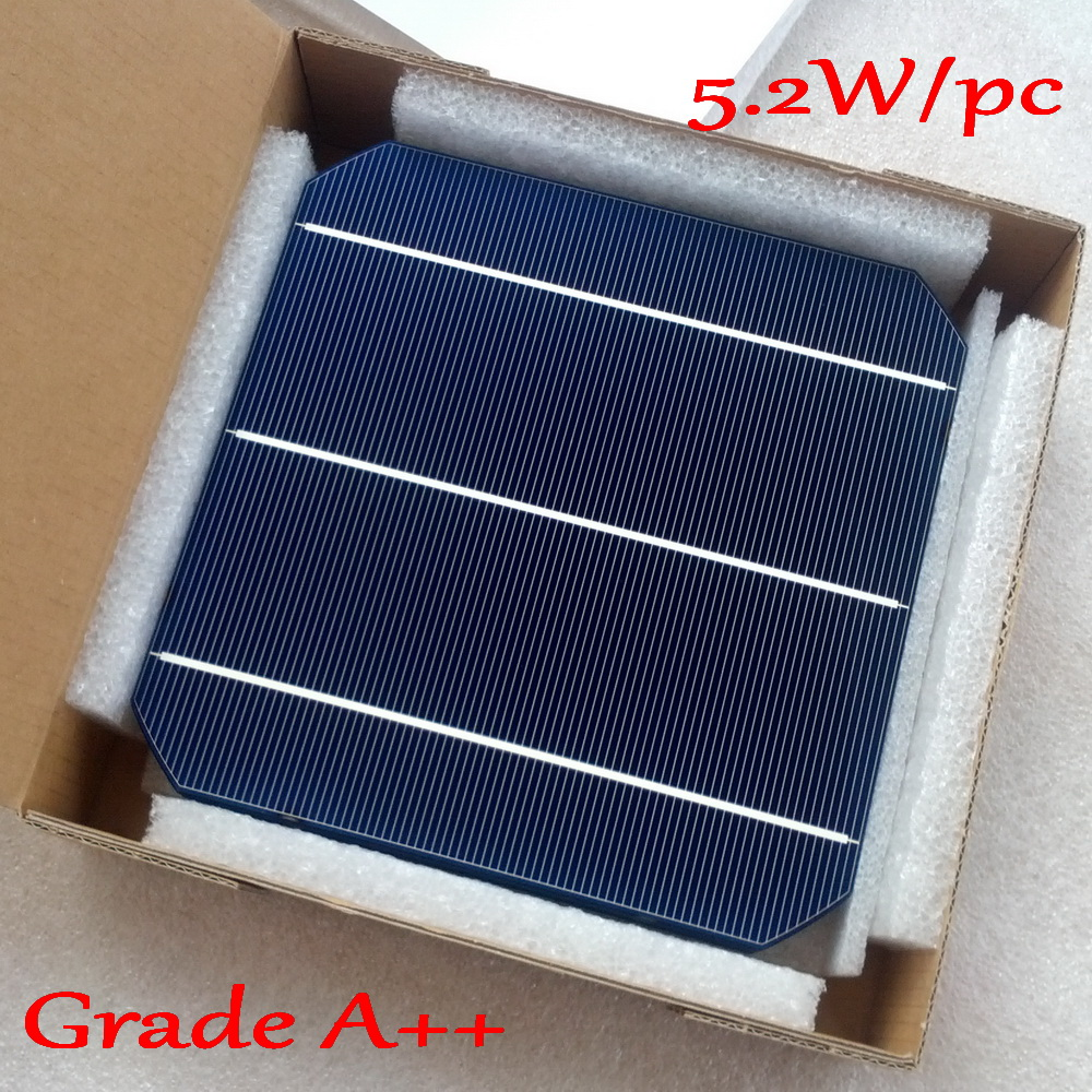 5.2W/pc Mono Solar Panel Cell -Newest Double Side Mono Solar Cell 6.45W/pc with enough PV Ribbon wire DIY Mono solar cell panel
