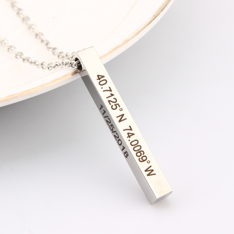 Pendant Bar Necklace Jewelry Coordinate Present GPS Long Distance Love Keepsake Personality 2 Sides Necklaces Girlfriend Gifts(China)