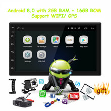 Android 8,0 universal Radio de coche 2 din Car radio gps android 2 GB de RAM + ROM 16 GB reproductor de DVD GPS navegación WIFI Bluetooth MP5 reproductor(China)