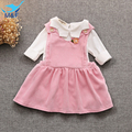 M&F 2017 Baby Girls Dress Spring Long Sleeve Korean Version Dresses Fashion 2 Pieces T-shirt+Strap Dress Clothes For Infant Girl