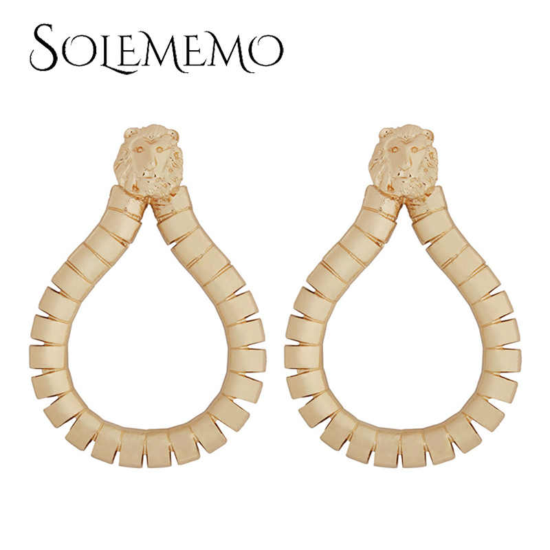 Solememo แฟชั่น Spiral เกียร์ Drop ต่างหูทองโลหะยุ้ยรอบ Dangle ต่างหูเครื่องประดับของขวัญ E5228