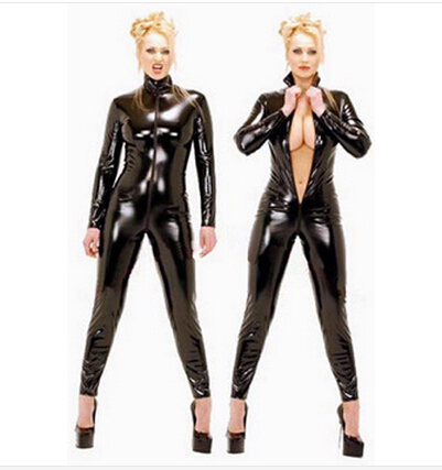 Sexy Latex Catsuit Faux Leather Bodysuit Bodycon Jumpsuit Clubwear Leotard Fantasia Halloween Costumes For Women Cosplay