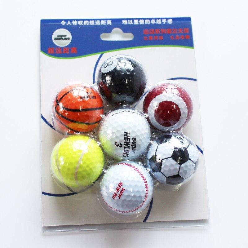 Free Shipping 7Pcs/lot Mix Color Outdoor Sport Golf Balls Golf Game Match Balls Two Layers High Grade Golf Ball
