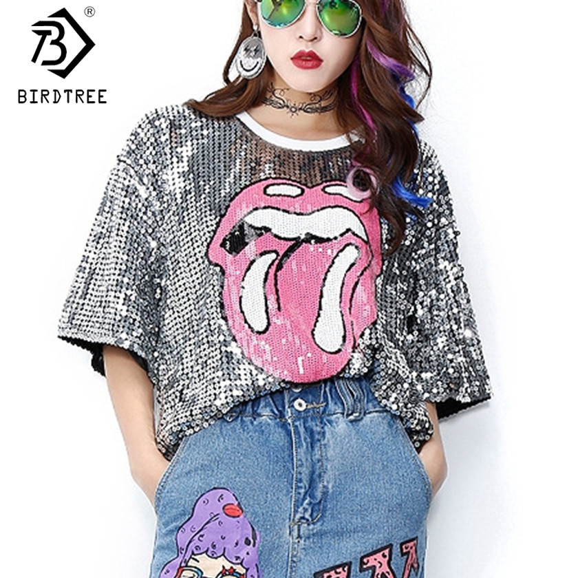 Summer Fashion Streetwear Tees Black Red Silver Green Tongue Tops Vogue Hiphop Girls Women Casual Loose Sequins shirts T7D416A