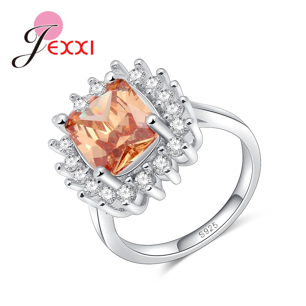 jexxi best sale sterling silver ring inlaid champagne