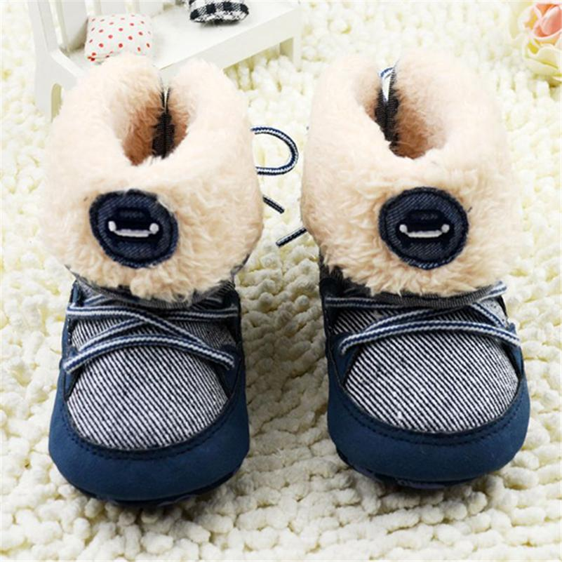 Toddler 0-18Months Baby Boy Winter Warm Snow Boots Lace Up Soft Sole Shoes Infant Kids 2018